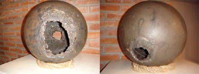 Damaged spheres from space
