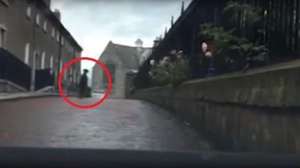 Irish ghost crosses road