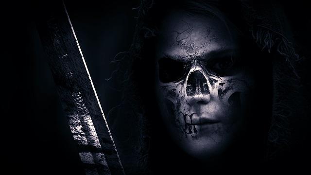 Hooded skull face occult