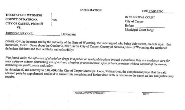 Bryant Johnson arrest Wyoming
