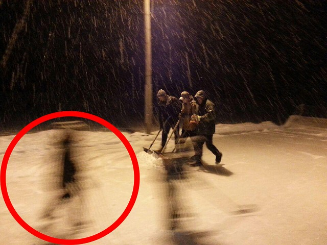 Ghost photo in the snow from Reddit