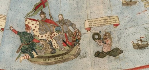 Early restored map depicts lizard-men, unicorns and mermen