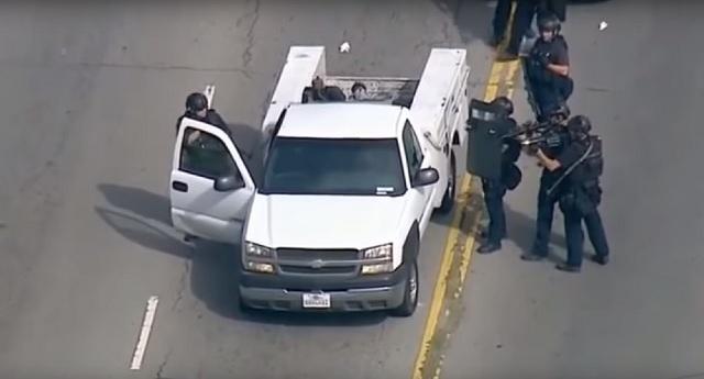 Alien pod falls from LA police officers leg shooting