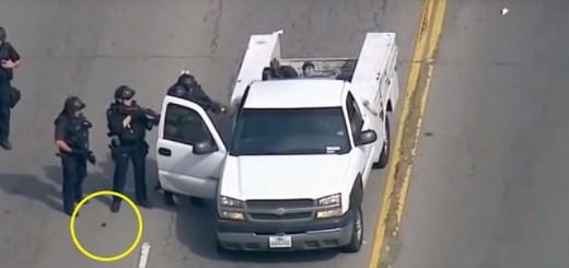 Alien pod falls from LA police officers leg