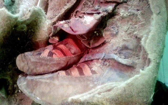 Mummy wearing Adidas type shoes found