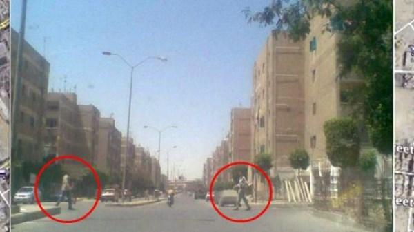 Nine feet tall Giants in Egyptian street