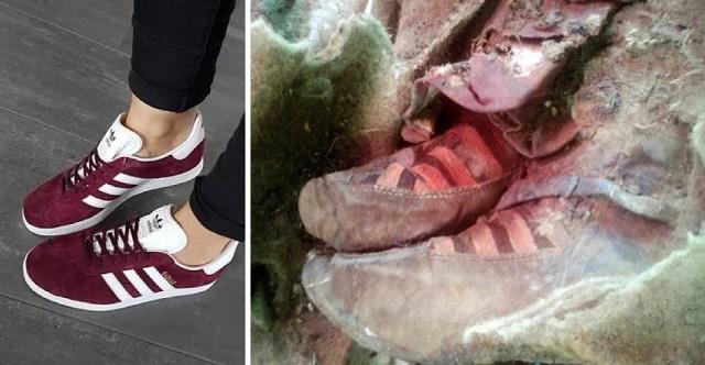 adidas shoes on mummy remains