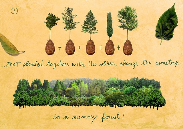 Biodegradable bio pod memory forest