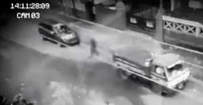 shadow person ghost walks through traffic Phillipines