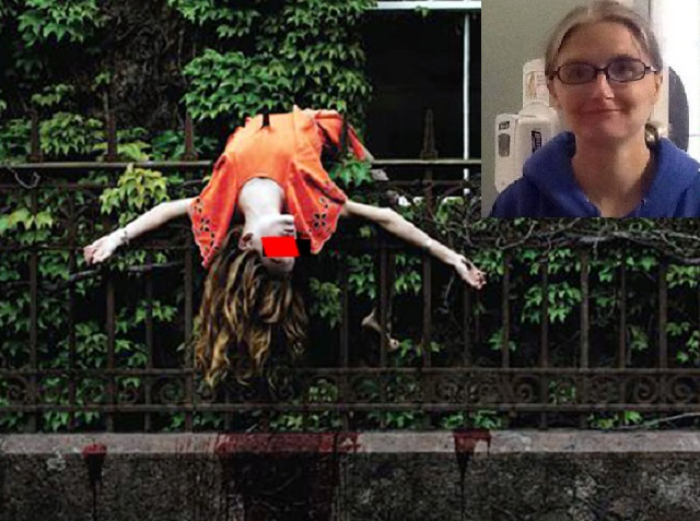 Woman mistaken for Halloween Decoration
