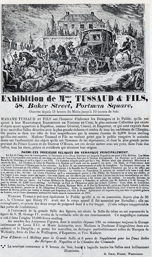 Madame Tussaud affiche 1835
