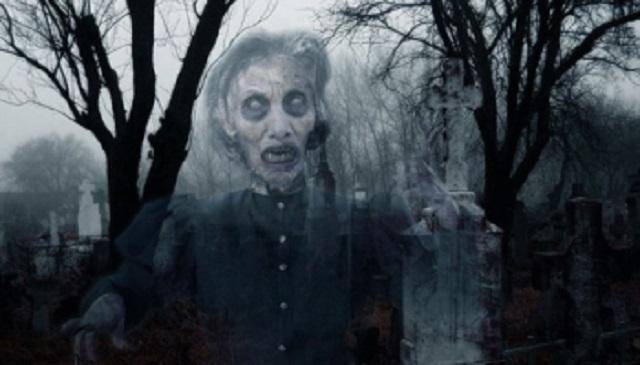Ghost Woman At Graveyard