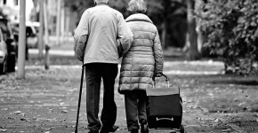 Elderly couple on street