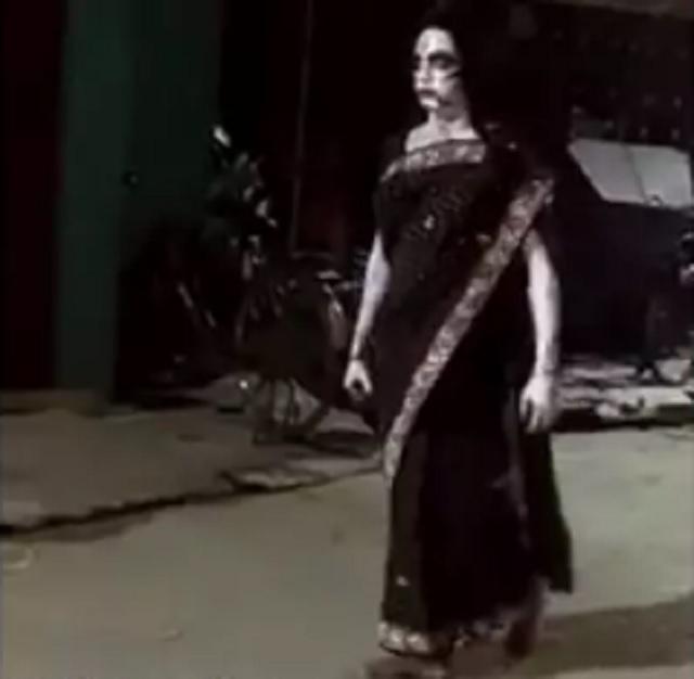 Costumed ghost India Coronavirus lockdown