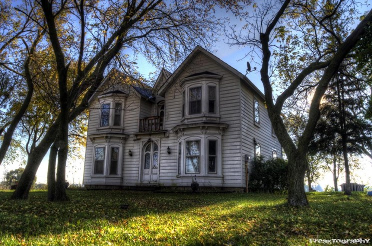 white abandoned house