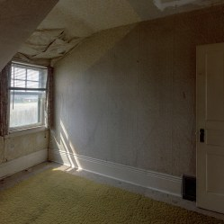 bedroom in an abandoned ontario house with green shag carpet