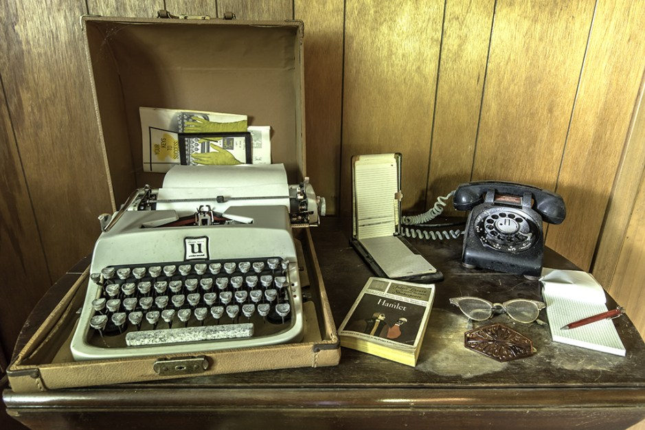 photography prints of Typewriter and Phone in an Abandoned House