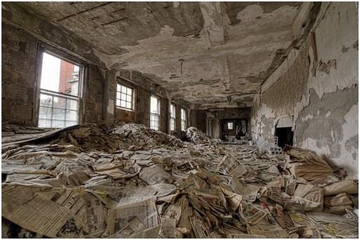 abandoned poorhouse newspaper room