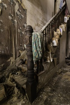 A staircase in an old home in Ontario that has sat abandoned for many, many years.