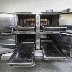 In a two sided morgue at an abandoned Psychiatric center. This side of the morgue was where the families would come to view the bodies of thei loved ones. The other side was where they did the examinations.