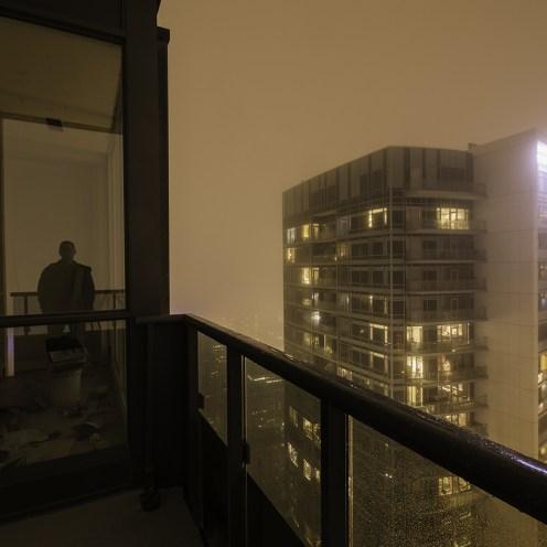 rooftopping self portrait fog