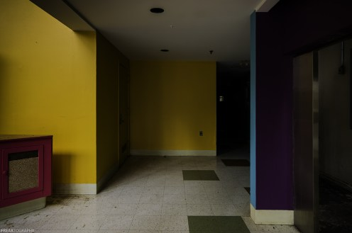 The colourful lunchroom in a vacant industrial food production plant in Toronto.