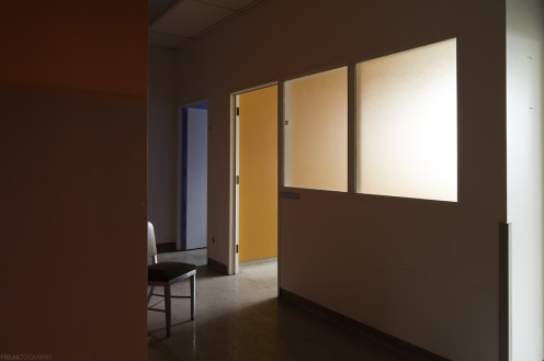 Clean and colourful offices in avacant industrial food production plant