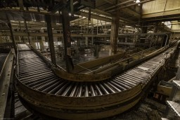 Inside the production line of a vacant industrial food production plant