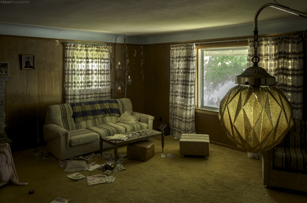 The living room of an amazing abandoned house in Ontario.