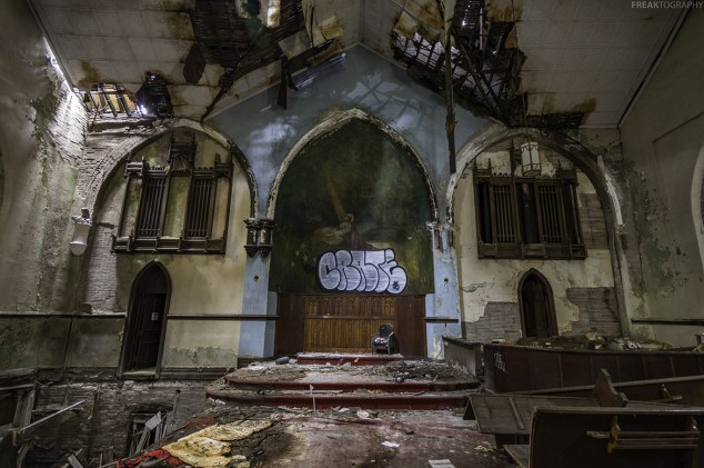 An abandoned church in Buffalo, notice on the left side, the floor has completely caved in.