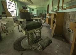 The barber shop inside an abandoned psychiatric hospital.