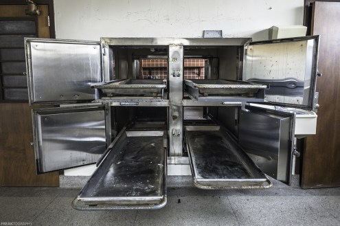 In a two sided morgue at a vacant Psychiatric hospital. This side of the morgue was where the families would come to view the bodies of thei loved ones. The other side was where they did the examinations.