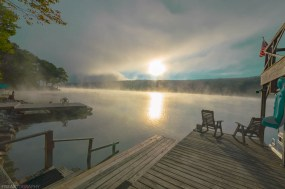 Cottage, Freaktography, Rushford Lake, chairs, dock, fog, mist, morning, new york, new york state, photography, sky, sun clouds, sunrise