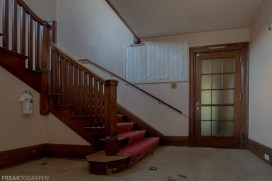 Abandoned Church, Freaktography, abandoned, abandoned photography, abandoned places, carpet, church, creepy, decay, derelict, door, haunted, haunted places, photography, red, stairs, urban exploration, urban exploration photography, urban explorer, urban exploring, wood, woodworking