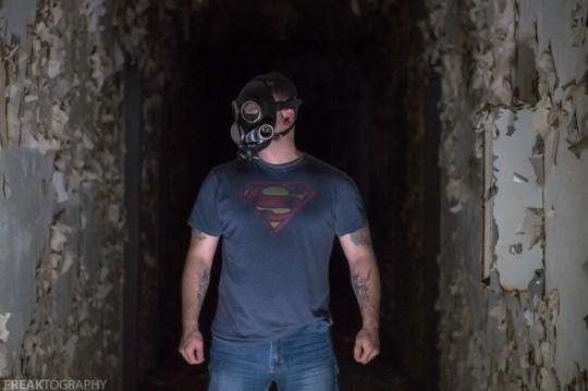 Freaktography, abandoned, abandoned photography, abandoned places, creepy, decay, derelict, gas mask, gas mask portrait, gas mask shots, gas masks, haunted, haunted places, photography, portait, self portrait, superman, urban exploration, urban exploration photography, urban explorer, urban exploring