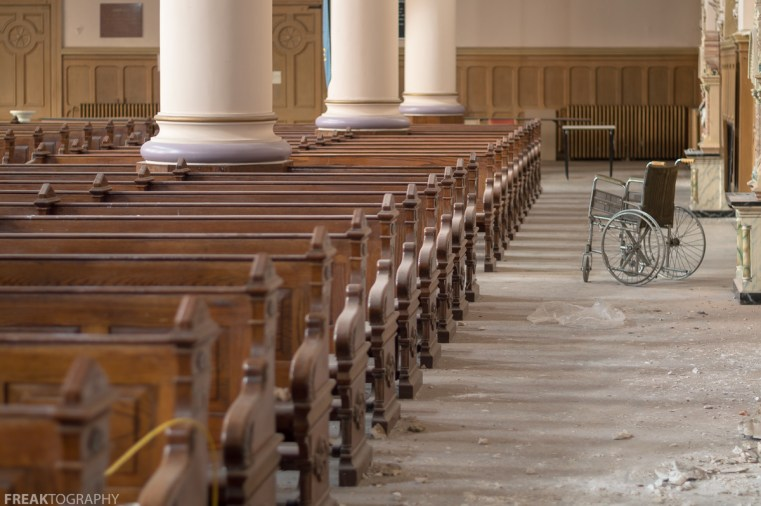 Abandoned Church, Freaktography, PEWS, abandoned, abandoned cathedral, abandoned photography, abandoned places, cathedral, church, creepy, decay, declining congregation, derelict, haunted, haunted places, photography, religion, urban exploration, urban exploration photography, urban explorer, urban exploring, wheel chair