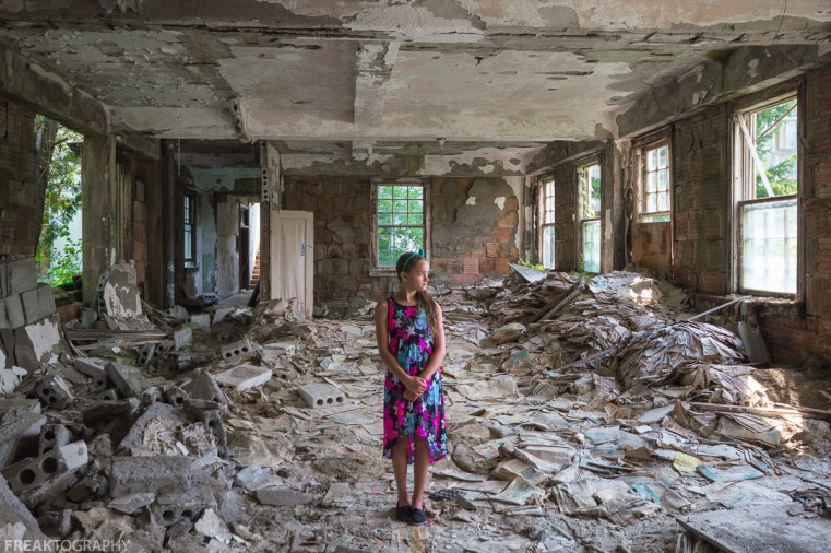 CHILD, DRESS, ELEGANCE IN ABANDONMENT, Freaktography, INNOCENT, MODEL, PORTRAITS, POSING, PRETTY, abandoned, abandoned photography, abandoned places, contrast, creepy, decay, derelict, destruction, flowers, girl, haunted, haunted places, newspaper room, photography, poorhouse, portrait, sweet, urban exploration, urban exploration photography, urban explorer, urban exploring, windows