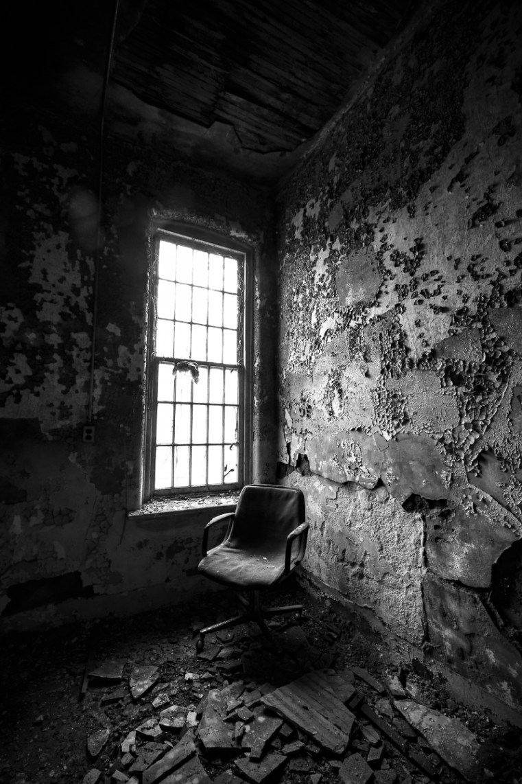 ABANDONED MENTAL INSTITUTION, MENTAL ASYLUM, Photography, URBAN EXPLORATION, WILLARD, WILLARD INSANE ASYLUM, abandoned, abandoned insane asylum, abandoned mental asylum, abandoned photography, abandoned places, black and white, chair, creepy, decay, derelict, freaktography, haunted, haunted places, insane asylum, lonely chair, monochrome, urban exploration photography, urban explorer, urban exploring
