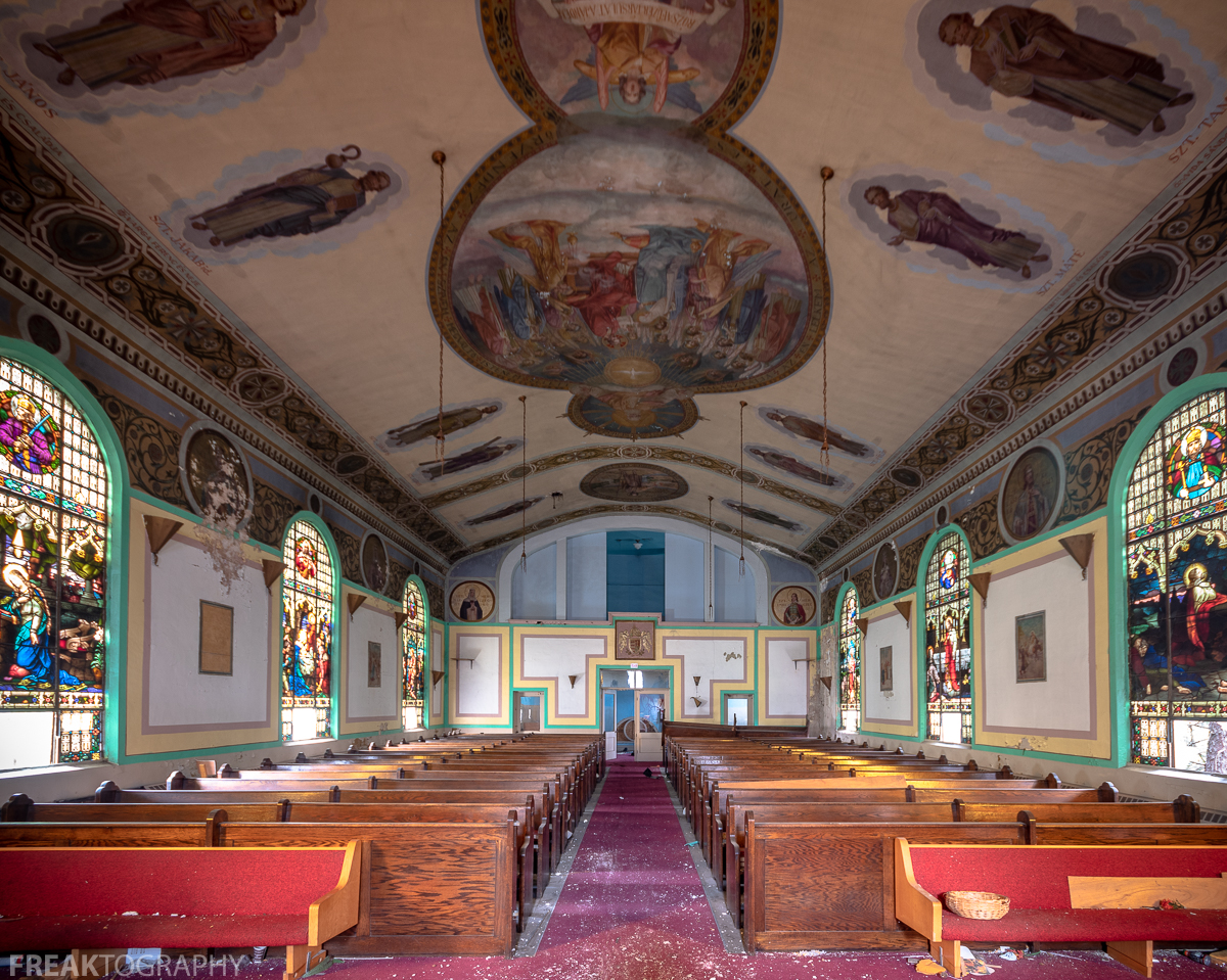 Abandoned Detroit Church with Hand Painted Ceiling