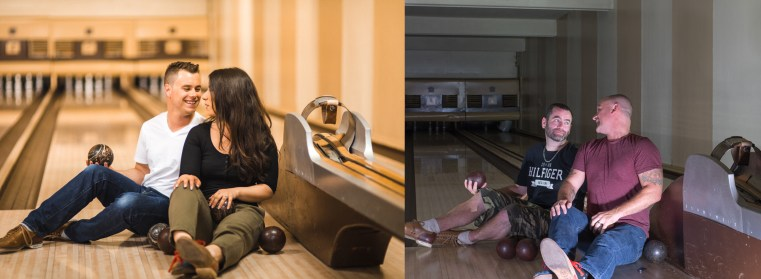 silly joke engagement photo shoot in an abandoned bowling alley