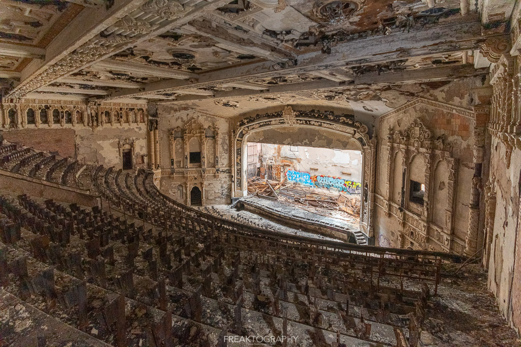 abandoned detroit cooley high school auditorium balcony