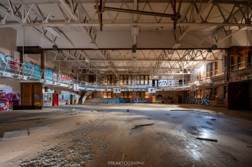 abandoned detroit cooley high school gym wide angle