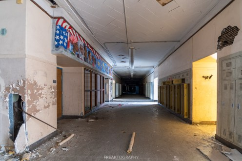 abandoned detroit cooley high school hallway