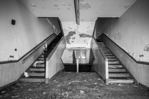 abandoned detroit cooley high school stairs