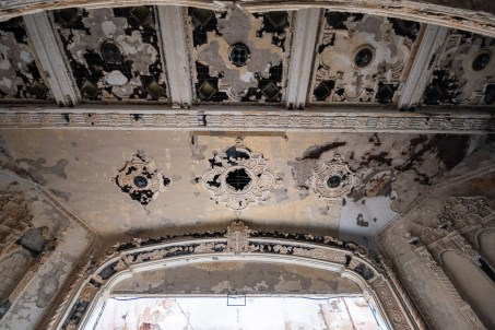 abandoned detroit cooley high school theatre ceiling decay