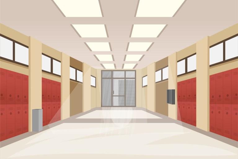 School Hallway Free Vector