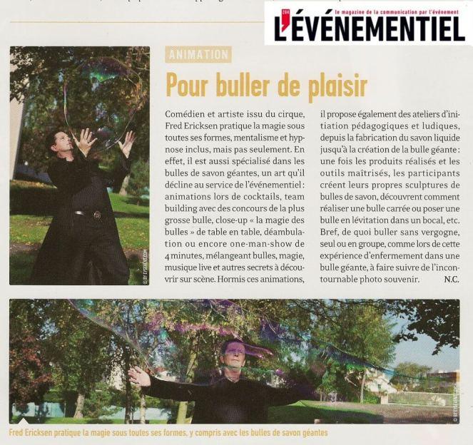 Article sur les bulles géantes dans la revue de l'évènementiel de décembre 2012