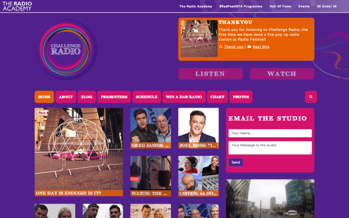 Challenge Radio Website Screenshot