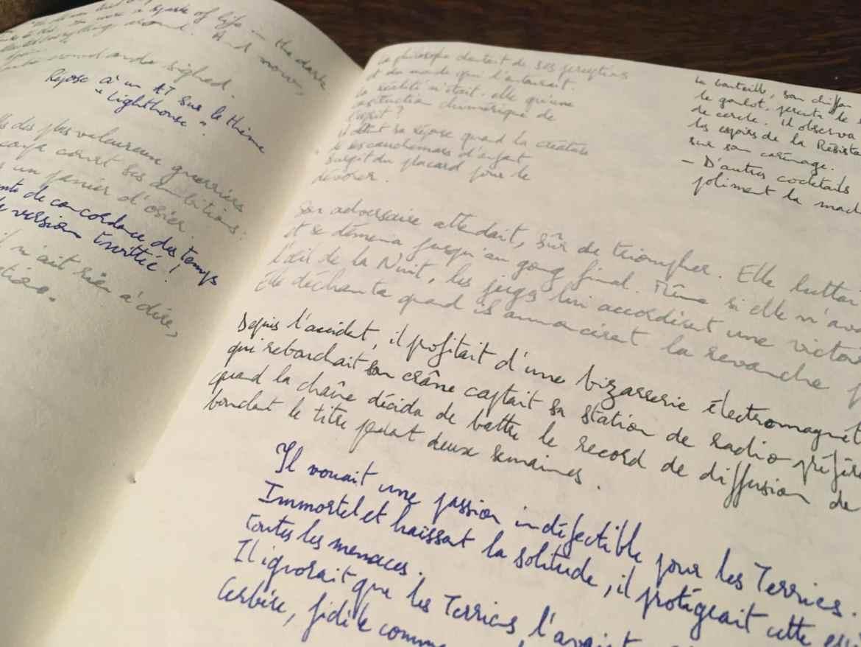 Un cahier dont les pages sont remplies d'histoires courtes manuscrites