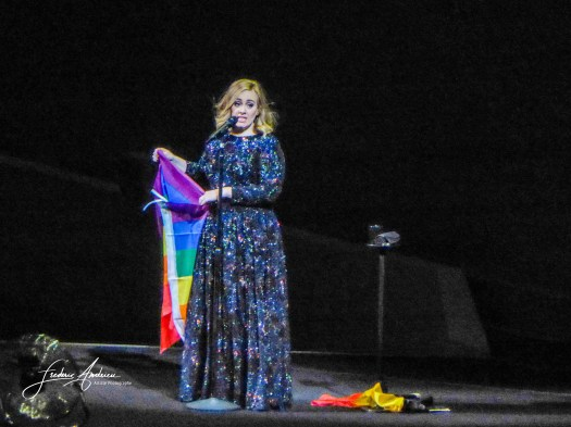 Adele tribute to the tragedy of Orlando during his concert at the Sportpaleis in Antwerp, Belgium. Antwerp, June 13, 2016, Belgium